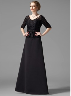 A-Line/Princess V-neck Floor-Length Satin Mother of the Bride Dress With Lace Beading (008002216)