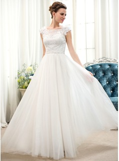 A-Line/Princess Scoop Neck Floor-Length Tulle Charmeuse Lace Wedding Dress With Beading Flower(s) Sequins
