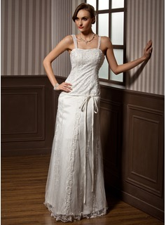 Sheath/Column Sweetheart Floor-Length Satin Tulle Wedding Dress With Lace Beadwork (002014262)