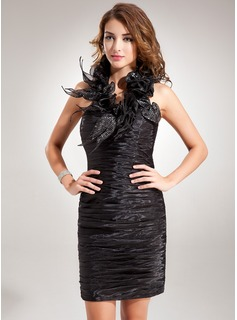 Sheath Halter Short/Mini Organza Cocktail Dress With Ruffle Sequins (016008251)