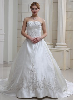 Ball-Gown Sweetheart Cathedral Train Satin Wedding Dress With Embroidery Ruffle Beadwork (002004481)