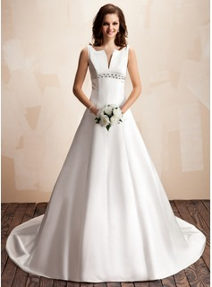 A-Line/Princess V-neck Chapel Train Satin Wedding Dress With Beading