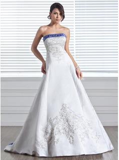 A-Line/Princess Strapless Court Train Satin Wedding Dress With Embroidery Sashes Beadwork (002005281)