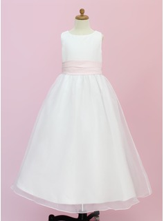 A-Line/Princess Scoop Neck Floor-Length Organza Flower Girl Dress With Sash Flower(s)