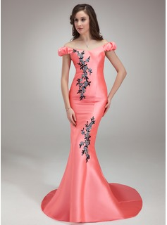 Mermaid Off-the-Shoulder Sweep Train Satin Prom Dress With Beading Appliques (018018817)