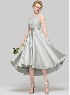 A-Line/Princess Scoop Neck Asymmetrical Satin Prom Dress With Sequins