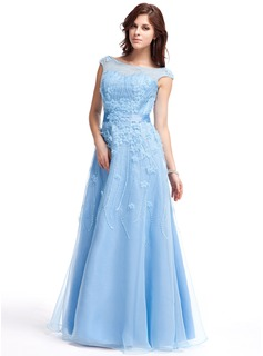 A-Line/Princess Scoop Neck Floor-Length Organza Prom Dress With Beading Flower(s) Sequins Bow(s)