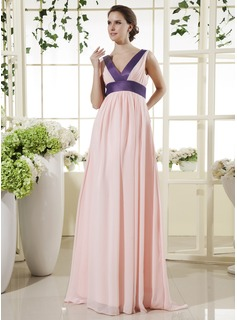 Empire V-neck Floor-Length Chiffon Maternity Bridesmaid Dresses With Sash (045022470)