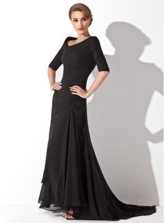 A-formet/Prinsesse Off-the-Shoulder Sweep Brudeslep Chiffon Festkjoler med Frynse (017020812)