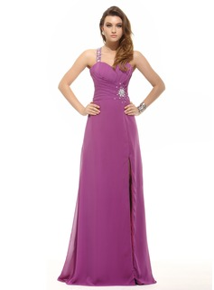 A-Line/Princess One-Shoulder Floor-Length Chiffon Prom Dress With Ruffle Beading (018016095)