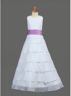 A-Line/Princess Scoop Neck Floor-Length Chiffon Charmeuse Flower Girl Dress With Sash Flower(s) Cascading Ruffles