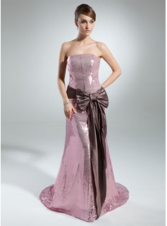 Sheath Strapless Court Train Taffeta Sequined Prom Dress With Sash