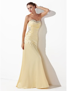 Sheath Sweetheart Floor-Length Charmeuse Prom Dress With Ruffle Beading Sequins (018004827)