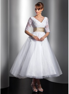 A-Line/Princess V-neck Tea-Length Satin Tulle Wedding Dress With Lace Sashes Beadwork (002014739)