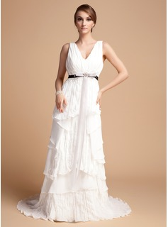 A-Line/Princess V-neck Sweep Train Chiffon Wedding Dress With Ruffle Lace Sashes Beadwork