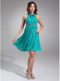 A-Line/Princess Scoop Neck Knee-Length Chiffon Cocktail Dress With Ruffle Beading (016008542)