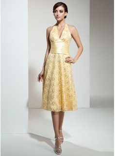A-Line/Princess Halter Tea-Length Charmeuse Lace Bridesmaid Dress With Ruffle (007001132)