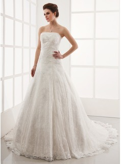 A-Line/Princess Strapless Chapel Train Satin Lace Wedding Dress With Beadwork (002011586)