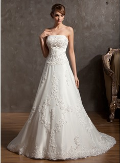 A-Line/Princess Strapless Court Train Satin Tulle Wedding Dress With Lace Beadwork (002014940)