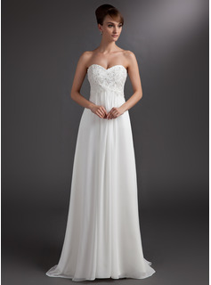 Empire Sweetheart Sweep Train Chiffon Bridesmaid Dress With Lace Beading Sequins