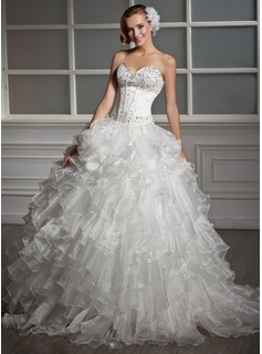 Ball-Gown Sweetheart Floor-Length Organza Satin Wedding Dress With Beading Sequins