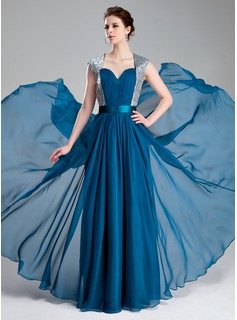 A-Line/Princess Sweetheart Floor-Length Chiffon Charmeuse Sequined Prom Dress With Ruffle