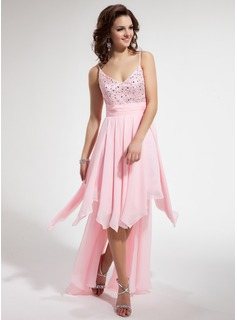 A-Line/Princess V-neck Asymmetrical Chiffon Charmeuse Homecoming Dress With Beading Cascading Ruffles
