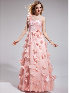 A-Line/Princess One-Shoulder Floor-Length Organza Prom Dress With Ruffle Flower(s)