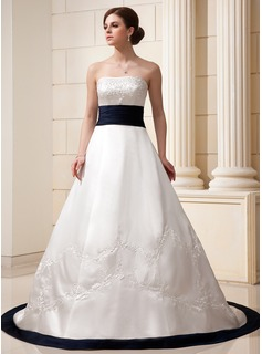 A-Line/Princess Strapless Chapel Train Satin Wedding Dress With Embroidery Sash Beadwork