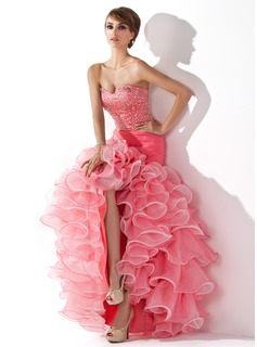 Mermaid Sweetheart Asymmetrical Organza Satin Prom Dress With Ruffle Beading Sequins (018005075)