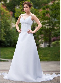 Empire V-neck Detachable Organza Wedding Dress With Ruffle Beading Sequins