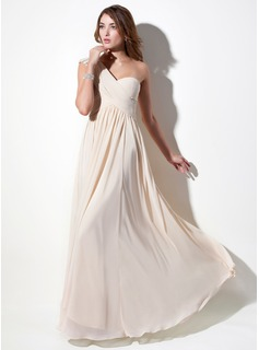 A-Line/Princess One-Shoulder Floor-Length Chiffon Lace Holiday Dress With Ruffle Beading