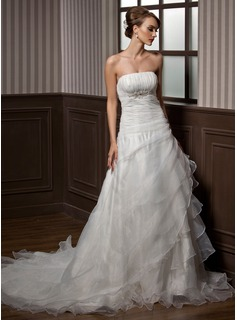 A-Line/Princess Strapless Chapel Train Organza Wedding Dress With Beading Cascading Ruffles