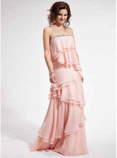 A-Line/Princess Strapless Floor-Length Chiffon Prom Dress With Beading Cascading Ruffles