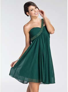 Empire One-Shoulder Knee-Length Chiffon Homecoming Dress With Ruffle Beading (022003353)
