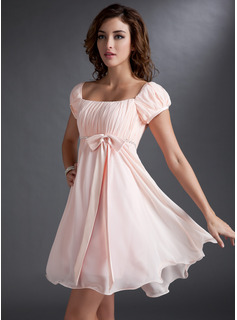 Empire Square Neckline Short/Mini Chiffon Satin Homecoming Dress With Ruffle Beading Sequins Bow(s)