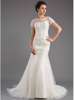 Trumpet/Mermaid Scoop Neck Court Train Tulle Wedding Dress With Lace Sequins
