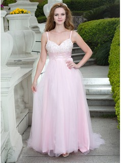 A-Line/Princess Sweetheart Court Train Tulle Prom Dress With Lace Beading (018024671)
