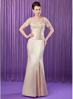 Trumpet/Mermaid V-neck Floor-Length Tulle Charmeuse Mother of the Bride Dress With Ruffle Lace Beading Sequins
