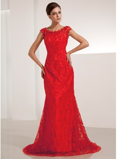 Mermaid Scoop Neck Sweep Train Lace Evening Dress With Beading Sequins (017014206)