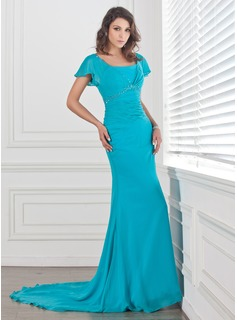 Trumpet/Mermaid Square Neckline Court Train Chiffon Mother of the Bride Dress With Ruffle Beading