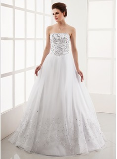 Ball-Gown Strapless Floor-Length Satin Tulle Wedding Dress With Embroidery Beadwork Sequins (002012220)