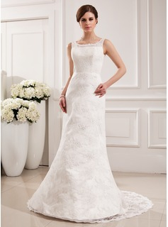 Mermaid Scoop Neck Court Train Satin Lace Wedding Dress (002019532)