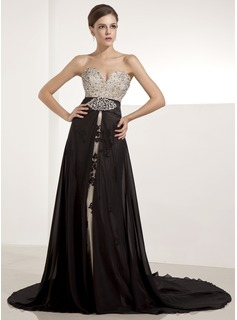 A-Line/Princess Sweetheart Chapel Train Chiffon Tulle Evening Dress With Lace Beading Sequins