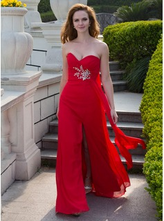 Empire Sweetheart Floor-Length Chiffon Prom Dress With Ruffle Beading (018024658)