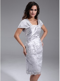 Sheath Off-the-Shoulder Knee-Length Charmeuse Lace Mother of the Bride Dress With Ruffle Beading (008006389)