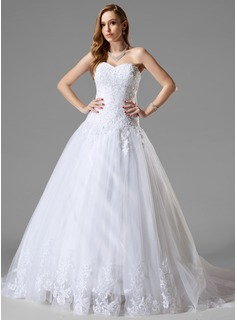 Ball-Gown Sweetheart Court Train Satin Tulle Wedding Dress With Lace Beading