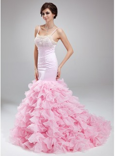 Trumpet/Mermaid Scoop Neck Court Train Satin Organza Prom Dress With Beading Cascading Ruffles