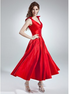 A-Line/Princess V-neck Ankle-Length Taffeta Bridesmaid Dress With Ruffle