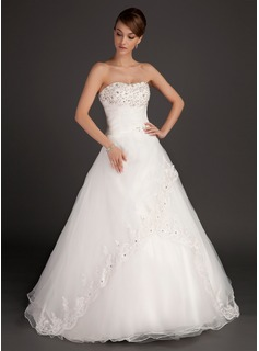 Ball-Gown Sweetheart Floor-Length Organza Satin Wedding Dress With Ruffle Lace Beadwork (002015485)